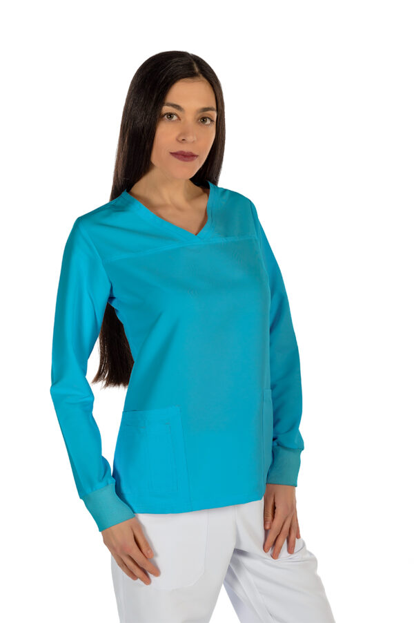 Casacca Power Turquoise NO STIRO Manica LUNGA
